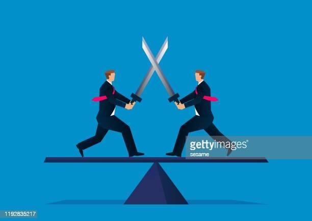 ilustrações de stock, clip art, desenhos animados e ícones de two businessmen dueling with swords on seesaw - luta de espadas