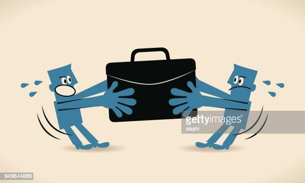 illustrations, cliparts, dessins animés et icônes de deux hommes d'affaires qui lutte pour l'emploi - se disputer