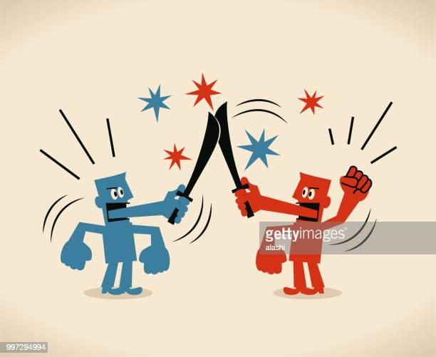 ilustrações de stock, clip art, desenhos animados e ícones de two businessmen fighting with knife mouth - luta de espadas