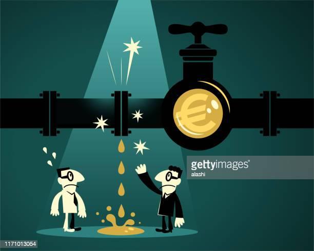 ilustraciones, imágenes clip art, dibujos animados e iconos de stock de dos empresarios que encuentran un gasoducto con un grifo de señal de euro (moneda de la unión europea) - impuesto sobre la renta