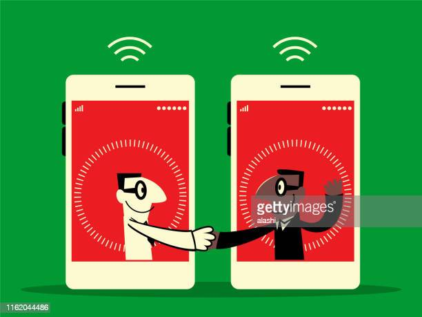 two businessmen from mobile phone meeting with a handshake - sharing economy stock illustrations