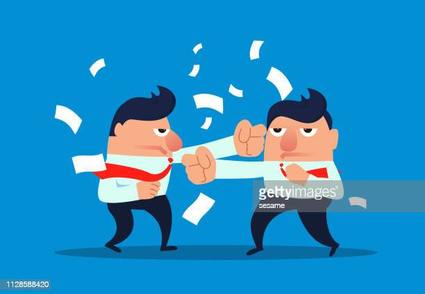 two businessmen have a conflict - office fight stock illustrations, clip art, cartoons, & icons