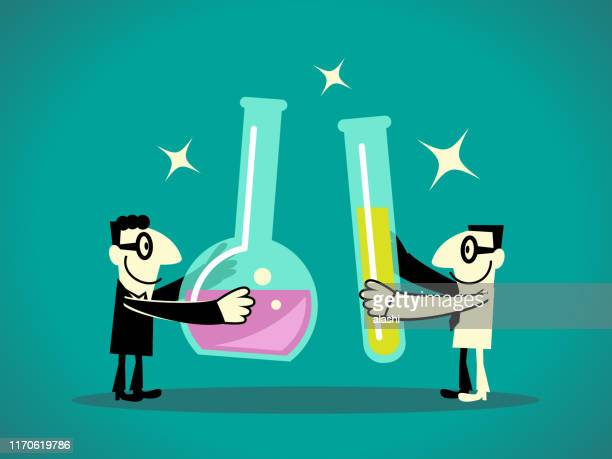 two businessmen holding test tubes with liquid - physicist stock illustrations, clip art, cartoons, & icons