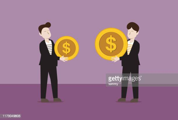 two businessmen holding us dollar coin in difference size - wage gap stock illustrations