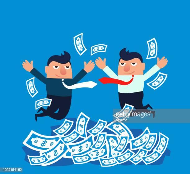 ilustraciones, imágenes clip art, dibujos animados e iconos de stock de dos empresarios de saltan para celebrar - fajo de billetes
