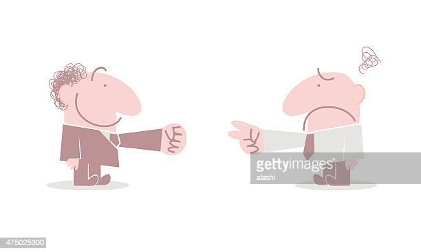 2 つのビジネスマンが rock paper scissors ゲーム