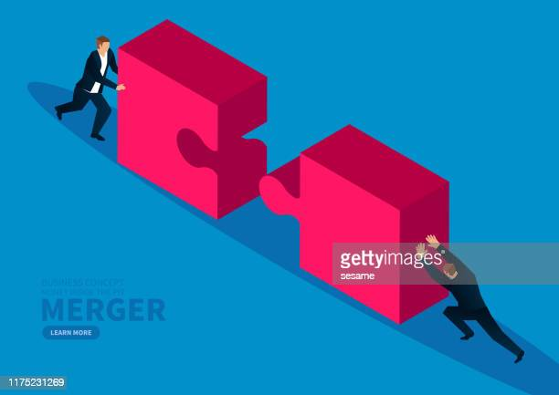 two businessmen push puzzles together - parte do corpo humano stock illustrations