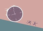 Two businessmen run away in front of huge clock.