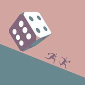 Two businessmen run away in front of huge dice
