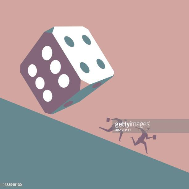 two businessmen run away in front of huge dice - gambling addiction stock illustrations
