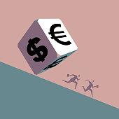 Two businessmen run away in front of huge financial symbol
