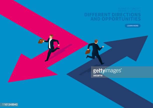illustrazioni stock, clip art, cartoni animati e icone di tendenza di two businessmen run in different directions - percorso