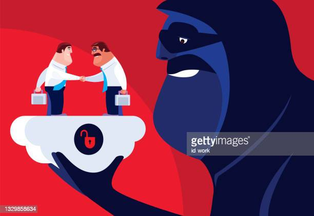 two businessmen shaking hands with unsafe cloud computing - scammer stock illustrations