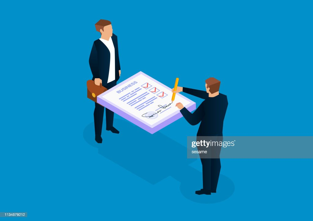 2人のビジネスマンが文書に署名 : ストックイラストレーション