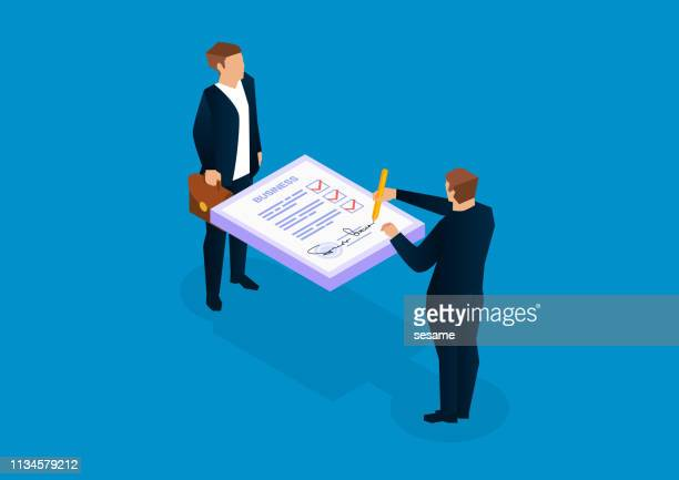 two businessmen signing documents - paperwork stock illustrations