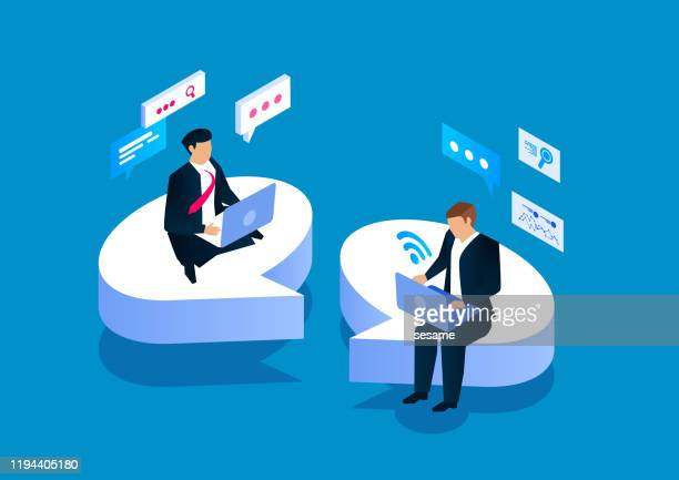 two businessmen sitting on a speech bubble communicating - two people stock illustrations