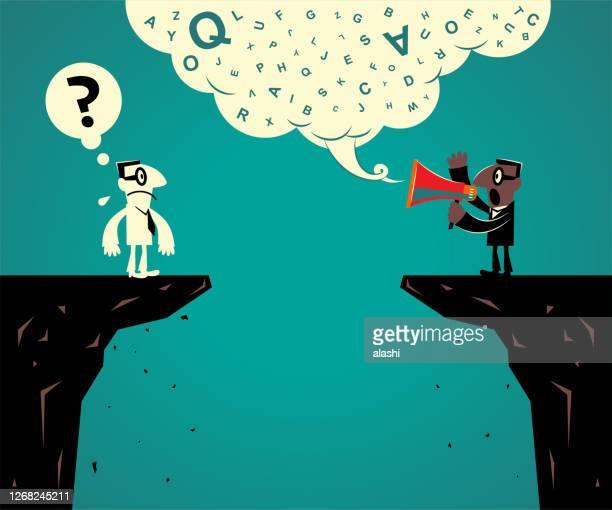 2人のビジネスマンが崖の端に立ち、コミュニケーションの問題を抱えている - コミュニケーション不足点のイラスト素材/クリップアート素材/マンガ素材/アイコン素材