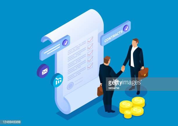 illustrazioni stock, clip art, cartoni animati e icone di tendenza di due uomini d'affari stanno davanti al contratto e si stringono la mano per raggiungere un accordo - lavoro e impiego