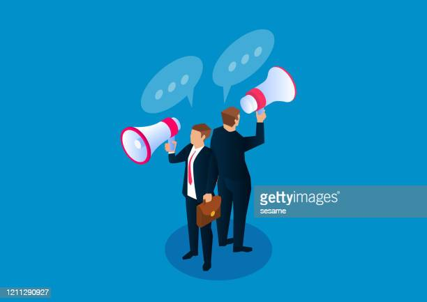 two businessmen standing back to back holding megaphones making announcement - election stock illustrations