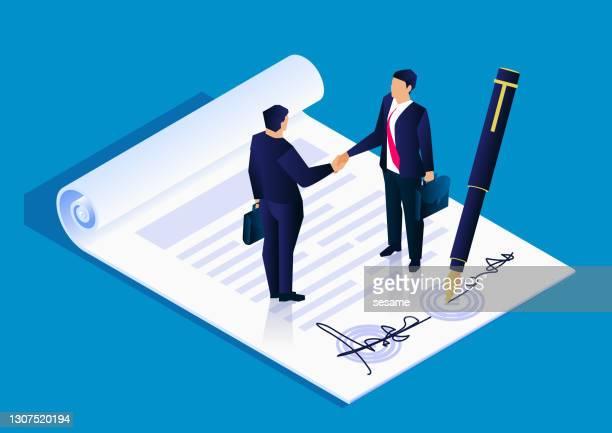 zwei geschäftsleute unterzeichneten erfolgreich einen projektkooperationsvertrag, business concept illustration - vertrag stock-grafiken, -clipart, -cartoons und -symbole