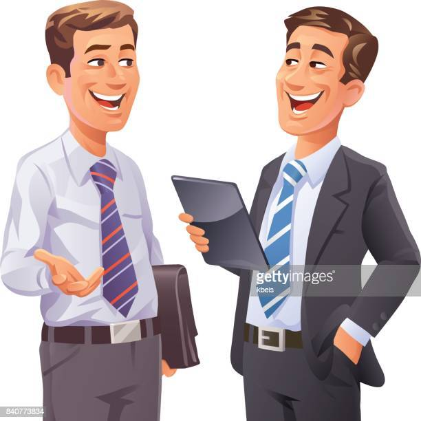 two businessmen talking - finance and economy stock illustrations, clip art, cartoons, & icons