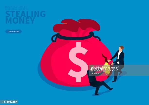 お金を盗むために大金の袋を引き裂く2人のビジネスマン - 布の袋点のイラスト素材/クリップアート素材/マンガ素材/アイコン素材