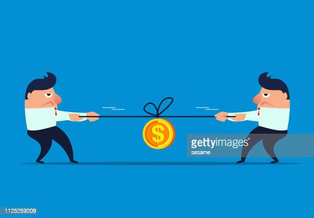 two businessmen tug the river to compete for gold coins - struggle stock illustrations