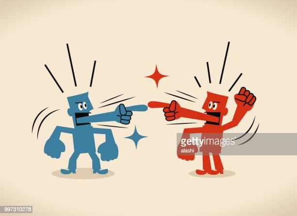 zwei geschäftsleute mit schuldzuweisungen zunge kämpfen miteinander - nur erwachsene stock-grafiken, -clipart, -cartoons und -symbole