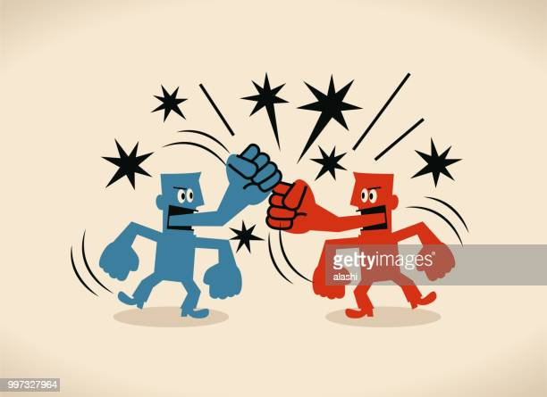 ilustrações de stock, clip art, desenhos animados e ícones de two businessmen with fist tongue fighting with each other - discutir