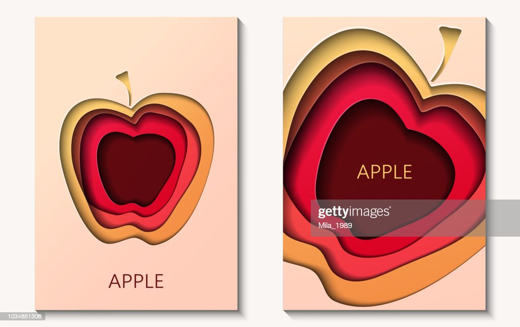 Two cards in paper cut style with apple, minimal template design. Abstract paper waves, layers, 3d art.