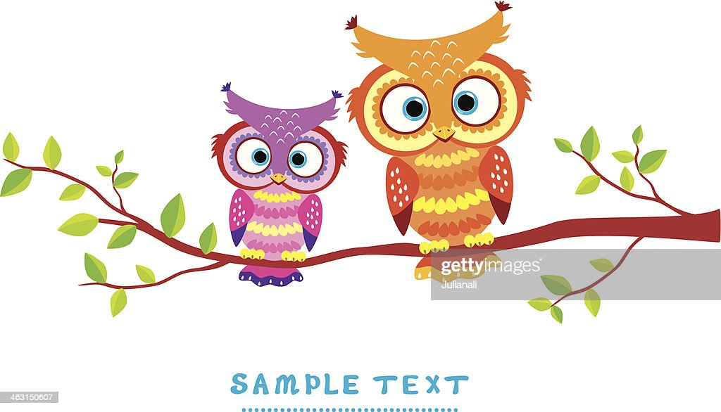 Two cartoon birds sitting on a tree branch
