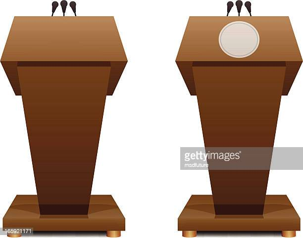 Two cartoon podiums next to each other