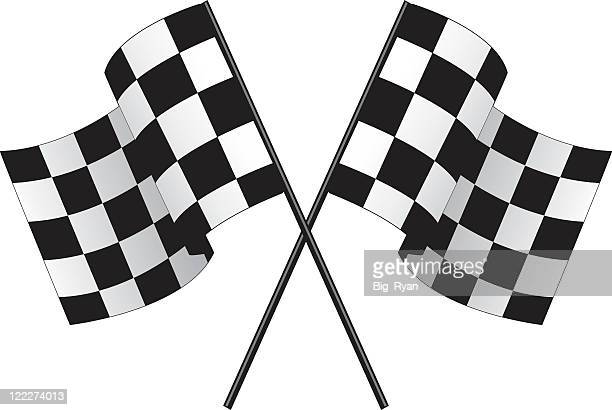 Two checkered race flags crossing over each other