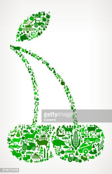 Two Cherries Farming and Agriculture Green Icon Pattern