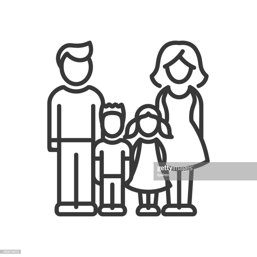 Two Children Family - vector modern line design illustrative icon