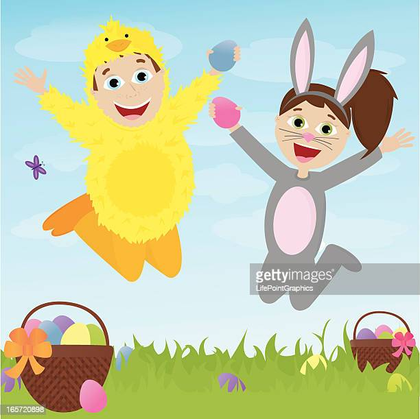 two children in costumes excited for easter! - easter bunny costume stock illustrations, clip art, cartoons, & icons