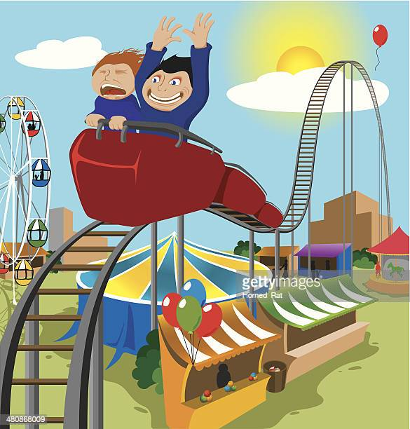 Two Children Riding Rollercoaster - Illustration