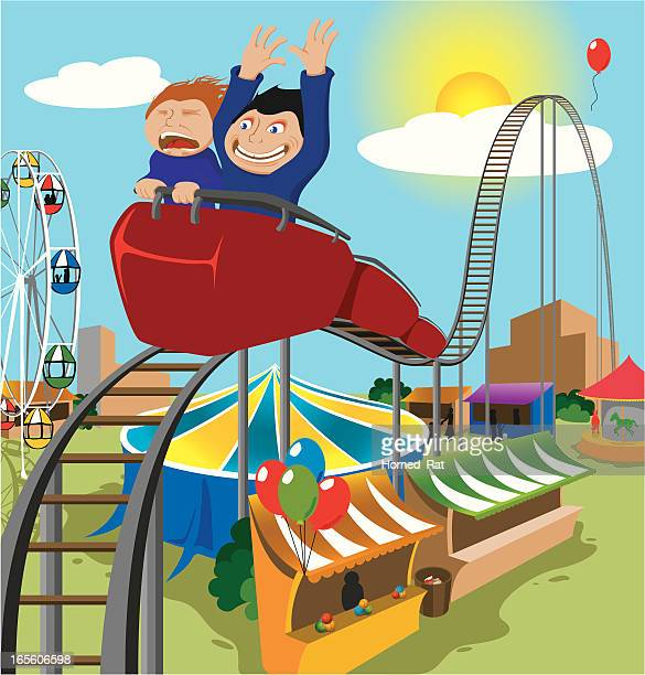 Two Children Riding Rollercoaster