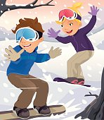 Two Children Snowboarding in Winter