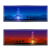 Two Christmas cards with star and birth of Jesus