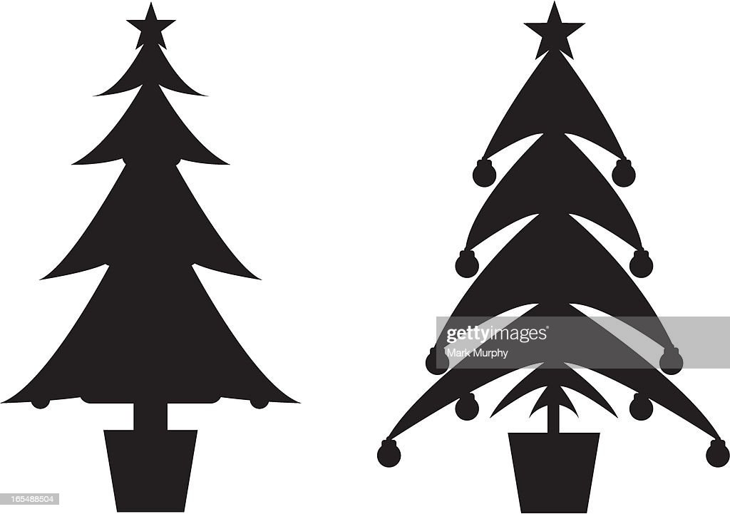 Two Christmas Tree Silhouettes High-Res Vector Graphic ...