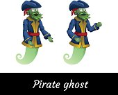 Two classic green pirate ghosts in a suit