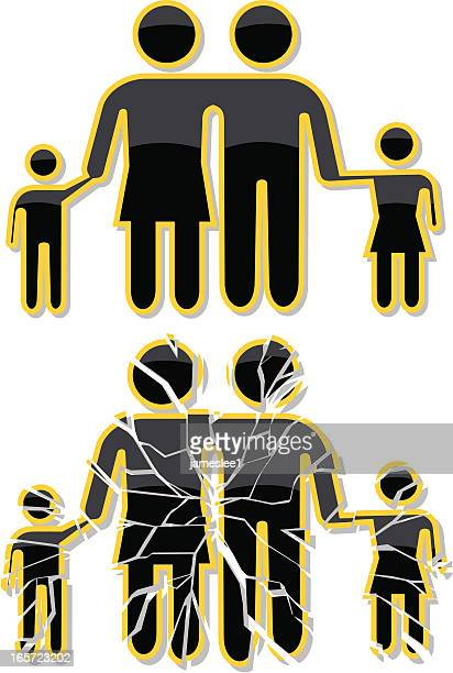 Two clip art families, but one has shattered glass over it