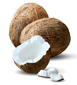 Two coconut nuts and a half third on a white background. 3D vector. High detailed realistic illustration