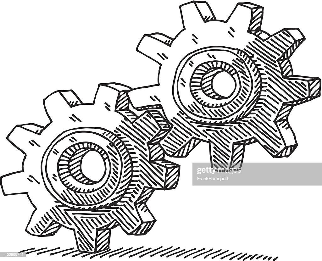 Two Cog Wheels Drawing : Stock Illustration