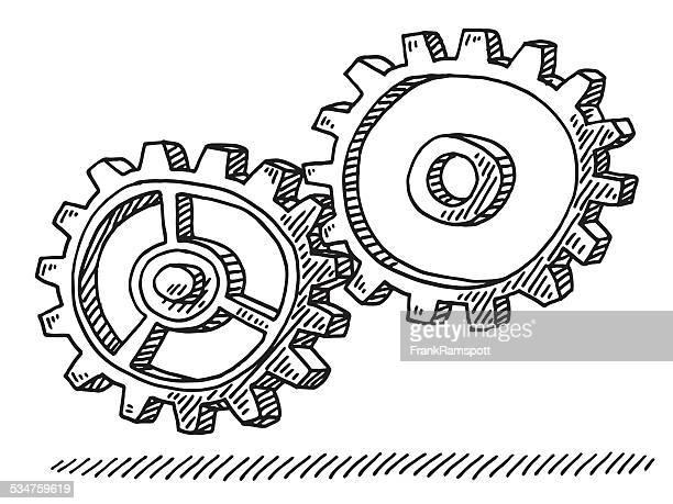 Zwei Cog Wheels Ausrüstung Zeichnung