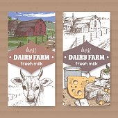 Two color dairy labels with farmhouse, cow, cheese, milk cup on white.