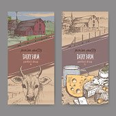 Two color dairy labels with farmhouse, cow, cheese, milk mug.