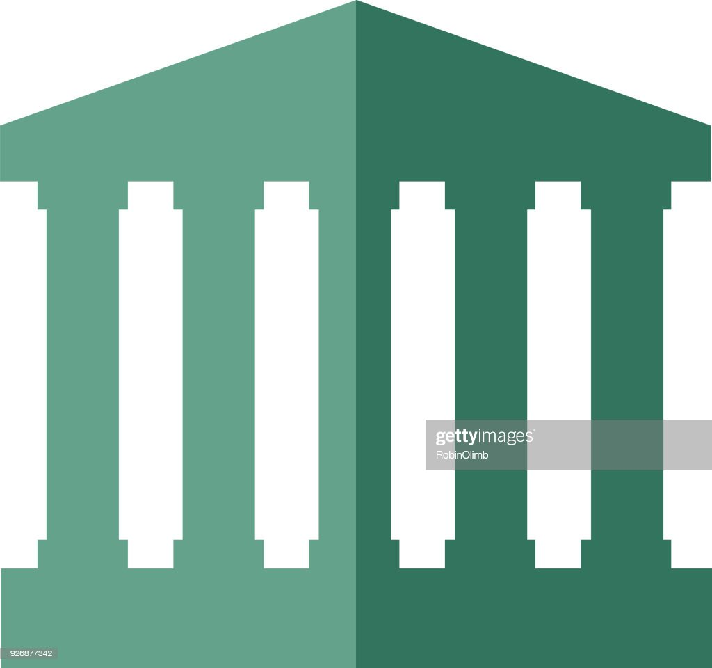 Two Color Government Building Icon : Stock Illustration