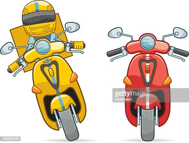 two color of scooter and pizza boy - motorcycle helmet isolated stock illustrations, clip art, cartoons, & icons